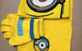 Minions Minion Winter Cap Mütze Kappe Wintermütze Beanie & Schal und Handschuhe Fan Winter Set Kind Kinder
